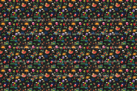 International - Fabric Hungry Caterpillar Doodle Main on Grunge Black