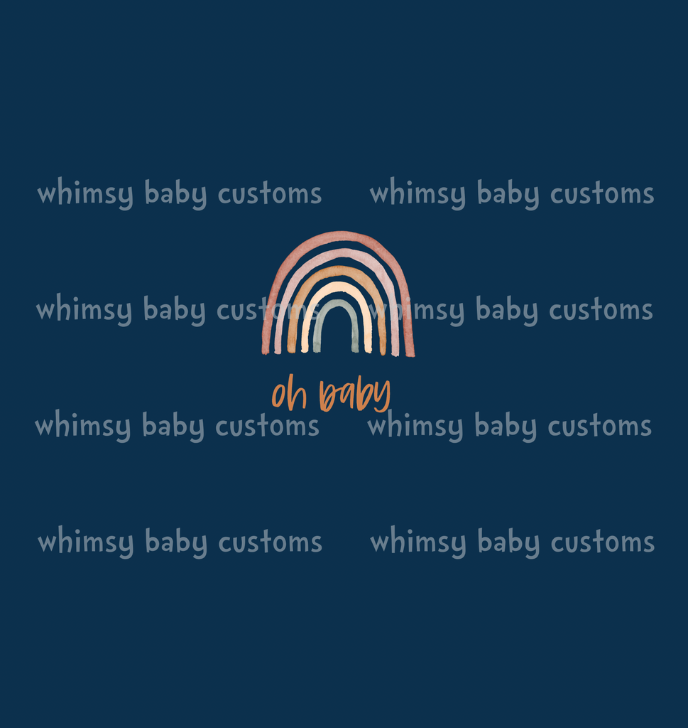 829N Child Panel Earth Toned Rainbow Collection Oh Baby on Navy