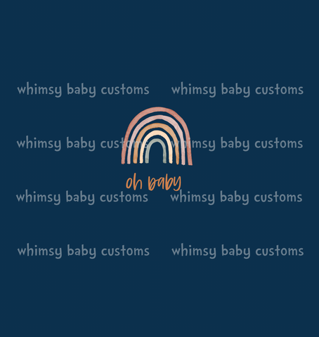 International - Child Panel Earth Toned Rainbow Collection Oh Baby on Navy
