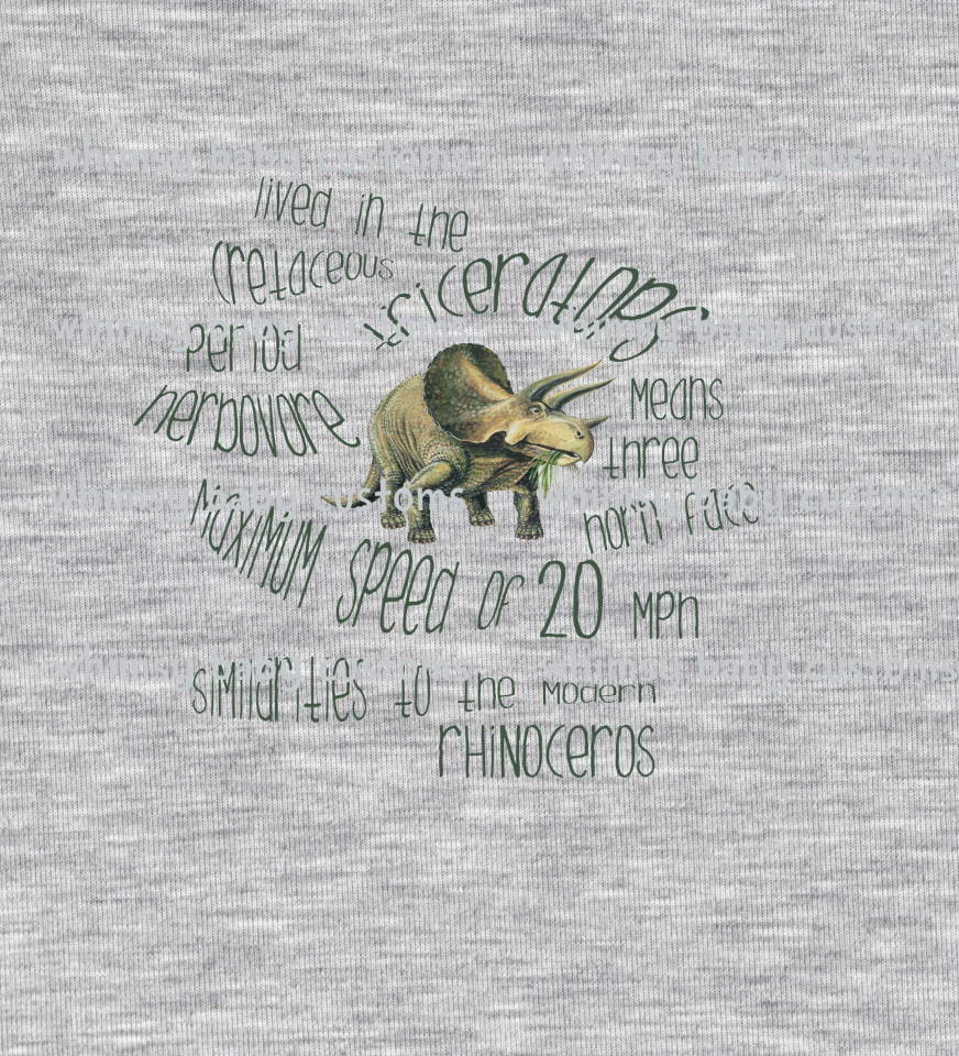 683H Child Panel Triceratops on Heather Grey