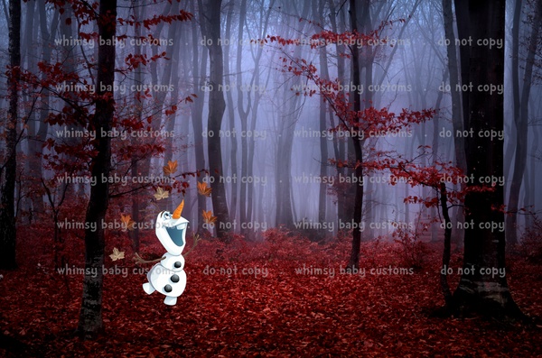 Cold Sisters 2: Snowman in Autumn Forest Cityscape (French Terry)