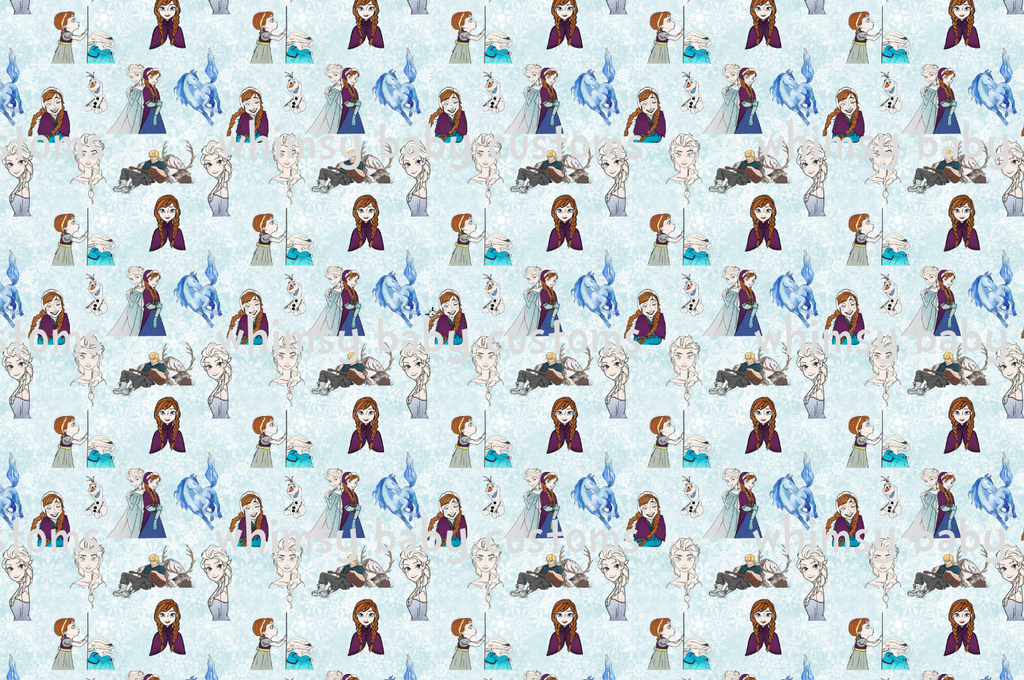 Cold Sisters 2 Main Print with Snow Background (Cotton Lycra)