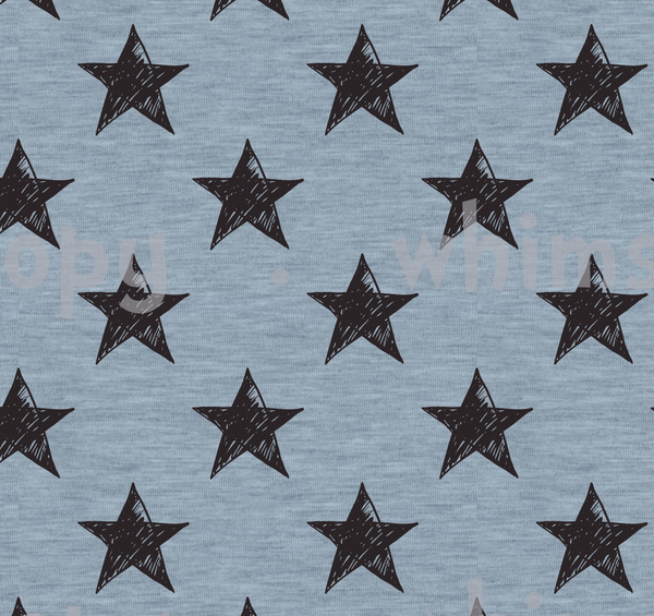 Fabric Black Grunge Stars on Light Blue Knit