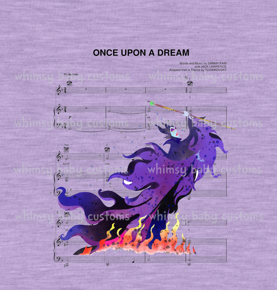 International - Maleficent Sheet Music Child Panel (Cotton Lycra)
