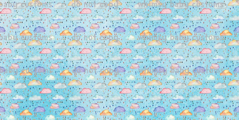 International - Fabric Watercolor Rain Clouds on Light Blue