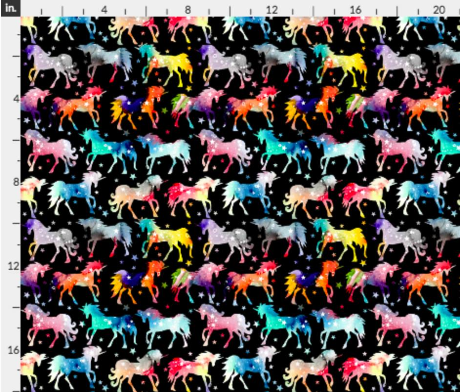 Rainbow Unicorns on Black