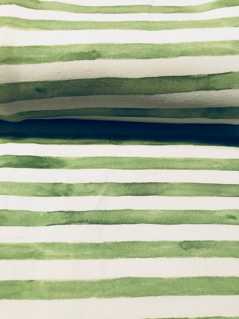 Green Watercolour Stripes