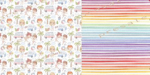 Perfect Day at the Beach Half and Half Swim Fabric RETAIL IN STOCK