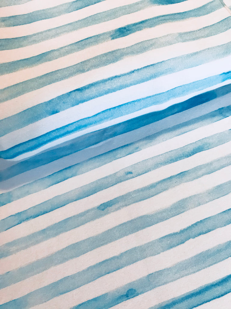 International Fabric Watercolour Stripes Light Blue