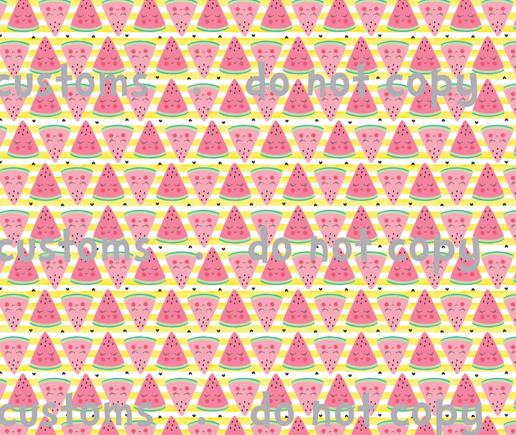 Fabric Kawaii Watermelons with Yellow Stripes