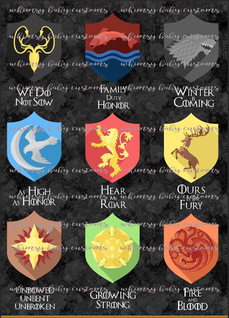 Lazy Quilt/ Blanket Topper -Game of Thrones Houses