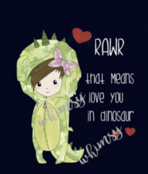 679 Rawr Means I Love You GIRL Child Panel