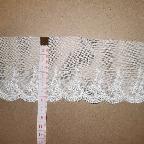 "2.75""/7cm Embroidered Lace Trim - White - Sutoru - Lace Trim - Sutoru"