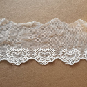 "3.34""/8.5cm Embroidered Lace Trim - White - Sutoru - Lace Trim - Sutoru"