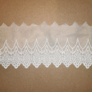 "3.75""/9.5cm Embroidered Lace Trim - White - Sutoru - Lace Trim - Sutoru"