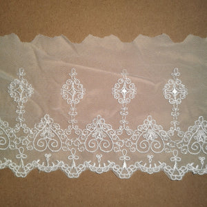 "5.31""/13.5 cm Embroidered Lace Trim - White - Sutoru - Lace Trim - Sutoru"