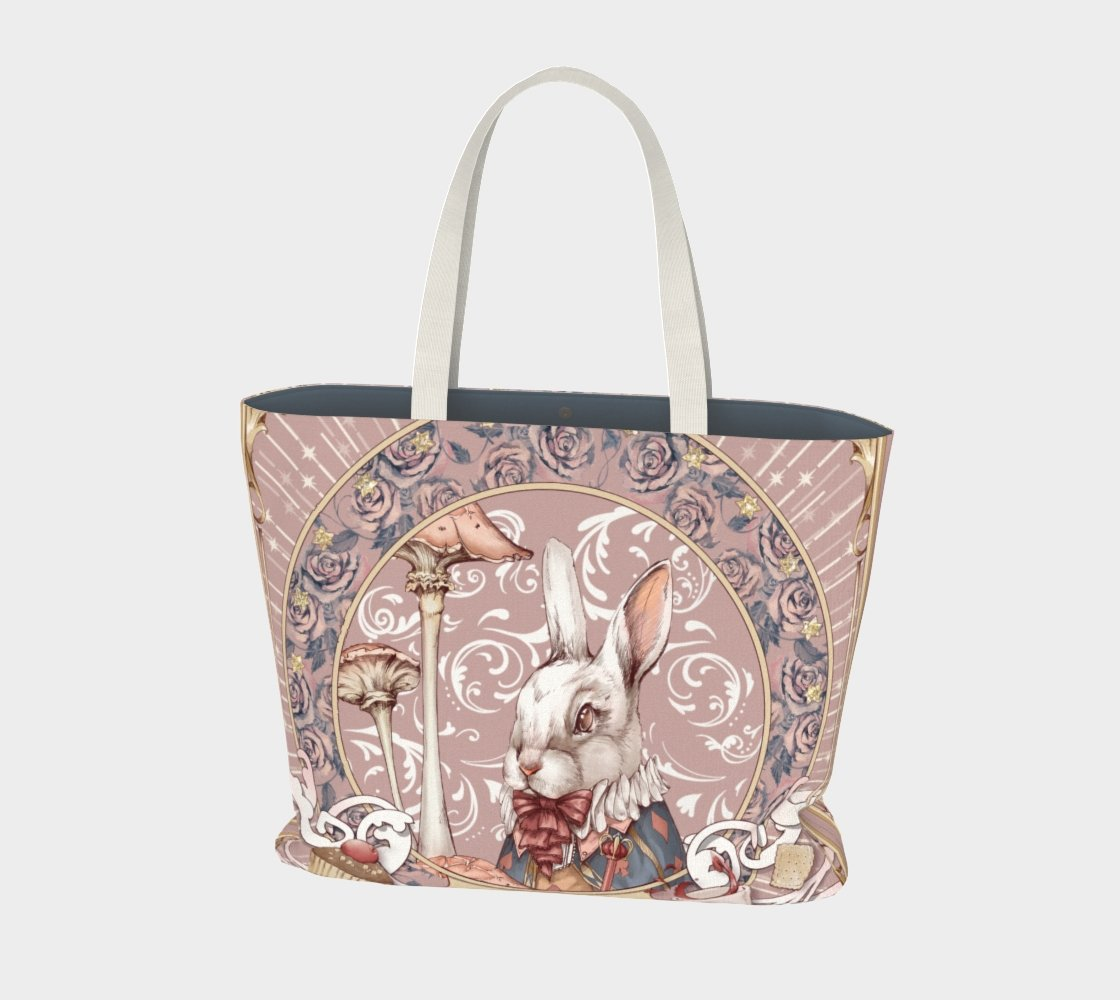 Alice, the White Rabbit - Pink Tote Bag - Sutoru - Large Tote Bag - Sutoru