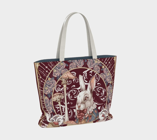 Alice, the White Rabbit - Wine Tote Bag - Sutoru - Large Tote Bag - Sutoru