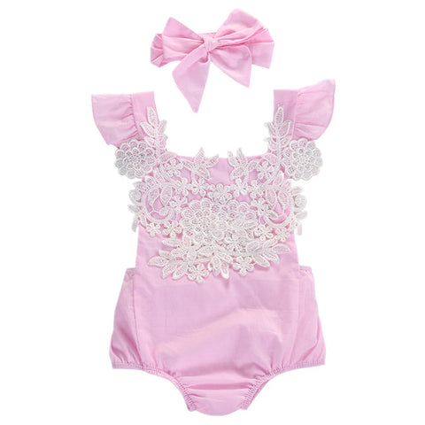 Baby Girl Floral Lace Romper 0-18M - Anime Fuse