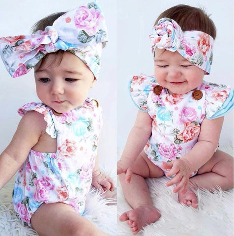 Baby Girl Floral Rompe + Headband 2PCS - Anime Fuse