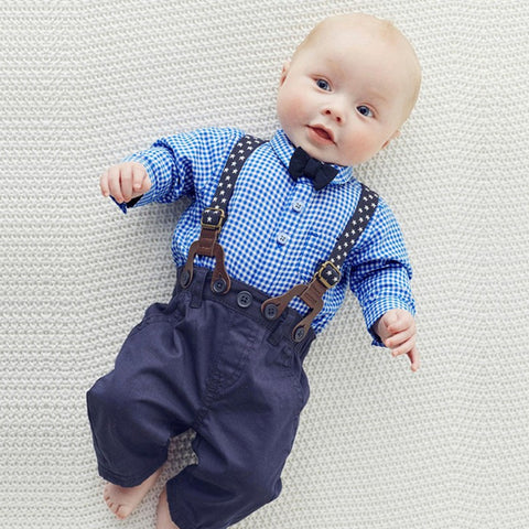 Baby Boy Clothes Bow Tie Romper - Anime Fuse