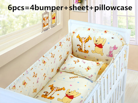 6PCS Winnie Pooh Baby Bedding Set (4 Bumper + Sheet + Pillow Cover) - Anime Fuse