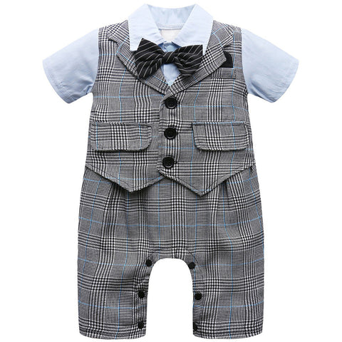 Baby Boy Suit Short Sleeve with Bow Tie Set - Anime Fuse