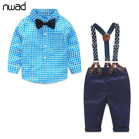 Baby Boy Long Sleeve Suit Plaid Shirt + Bow Tie+ Suspender - Anime Fuse