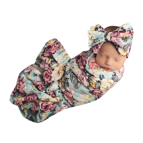 Newborn Girl Floral Swaddle Wrap + Headband - Anime Fuse