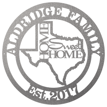 State Home Sweet Home Monogram Family Metal Sign