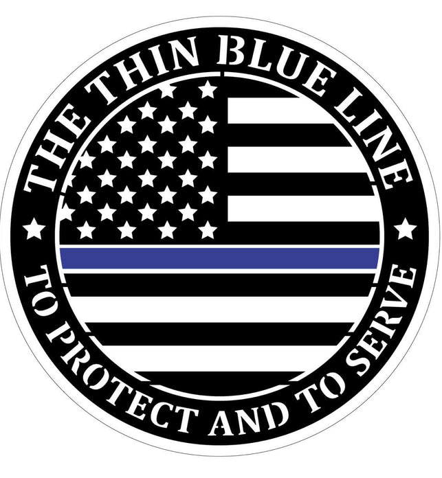 Round Thin Blue Line Flag