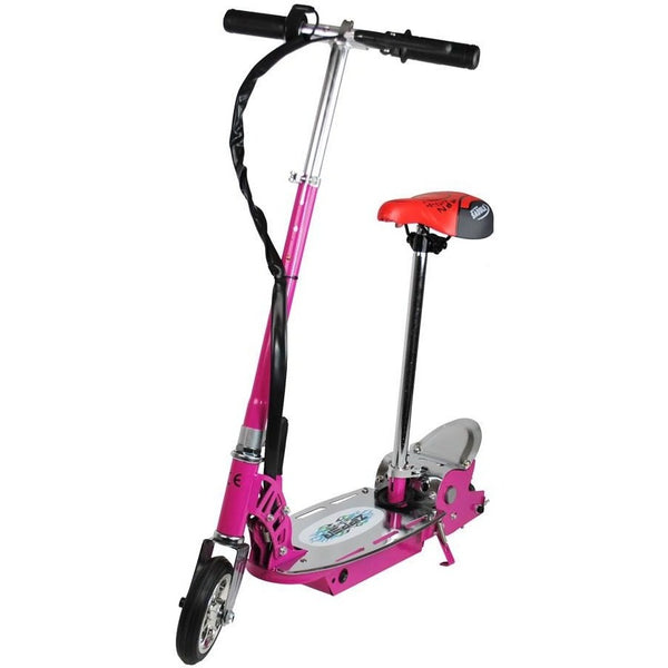 120W Electric Scooter For Kids - Metal Deck Folding With Seat - Pink - Epicstuff.co.uk