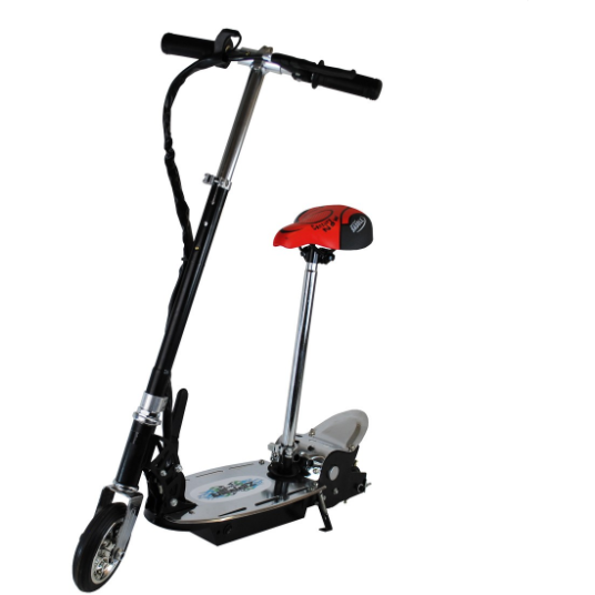 120W Electric Scooter For Kids - Metal Deck Folding With Seat - Black - Epicstuff.co.uk