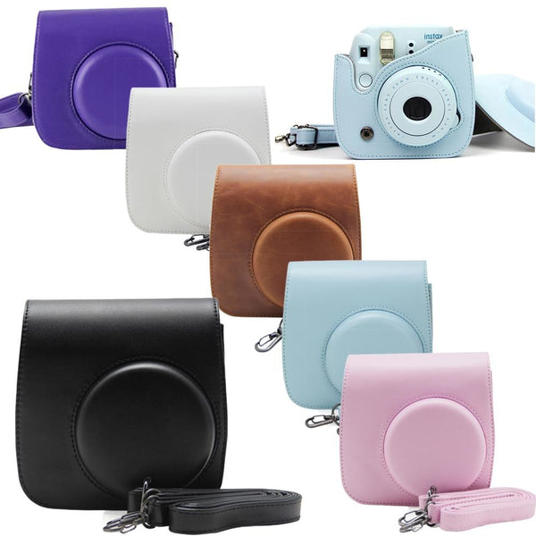 Fujifilm Instax Mini 8 Camera Mini 8 Plus 9 PU Leather Case with Shoulder Strap - Epicstuff.co.uk