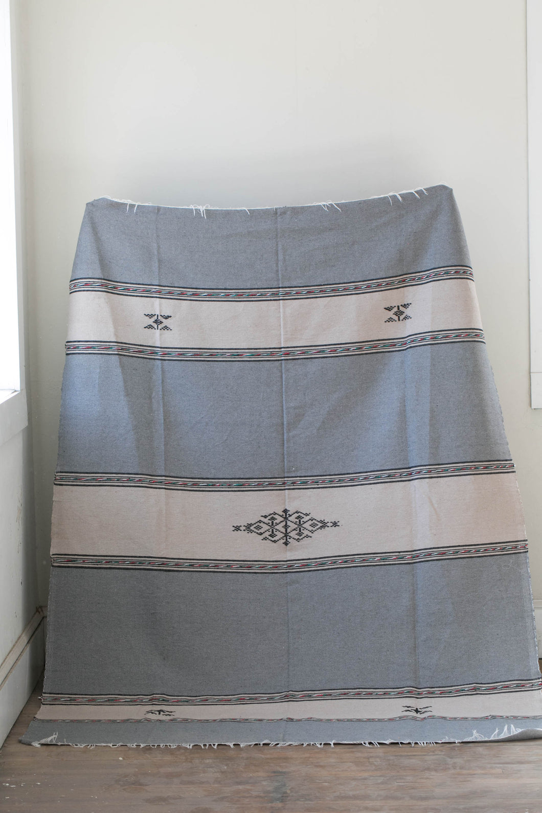 Riad Blanket - Large Grey & Taupe Stripe