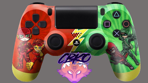 Flash and Arrow Cartoon style Fan art playstation 4 controller