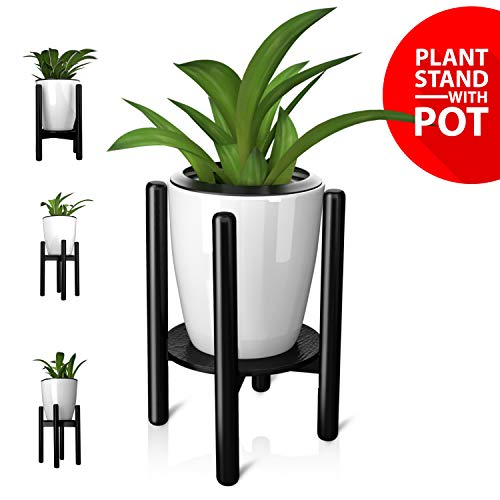 "Mid Century Plant stand with pot and automatic Self Watering Spikes- Adjustable wood Pot holder (8""-12"") with coaster and Self Watering plant pot for indoor & outdoor Decorations (plant not included)"