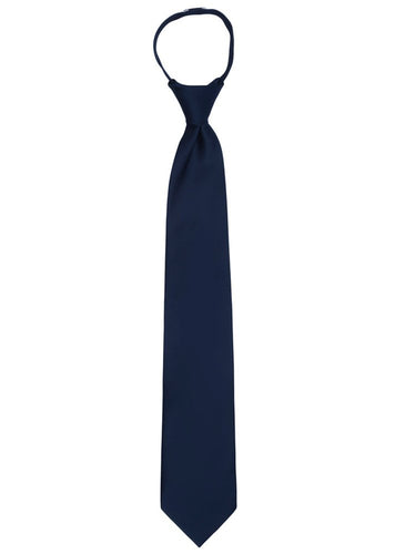 Jacob Alexander Men's Pretied Ready Made Solid Color Zipper Tie - Navy