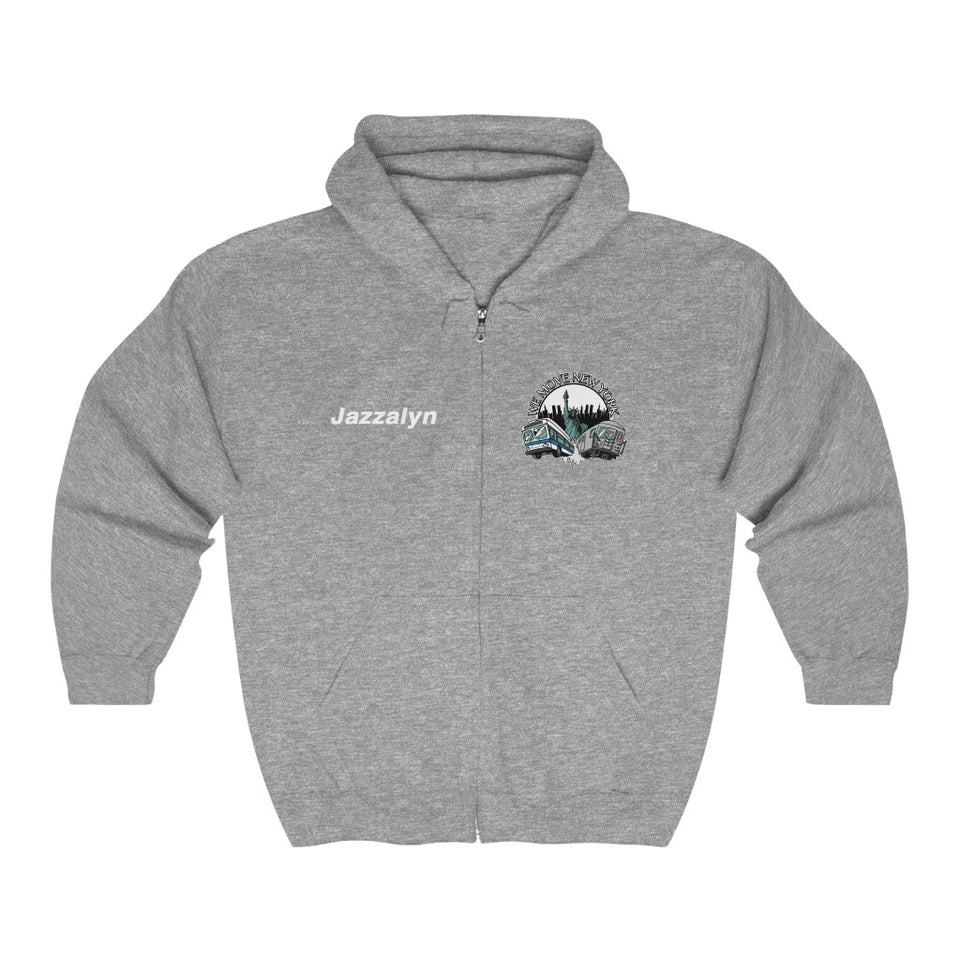 "Custom print ""Jazzalyn"" Train and Bus Full Zip Hoodie (front and back print)"
