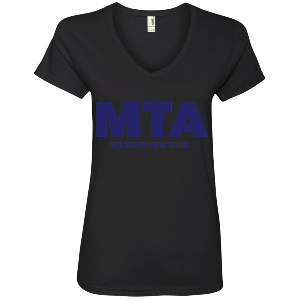 MTA WMNY (blue letters) Ladies' V-Neck T-Shirt