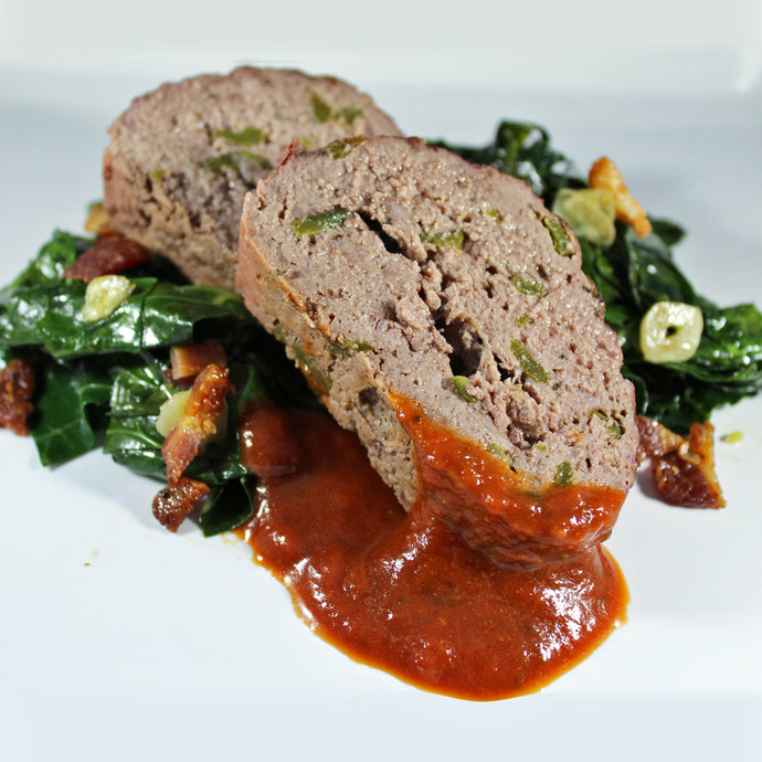 Poblano Meatloaf with Bacon Braised Greens