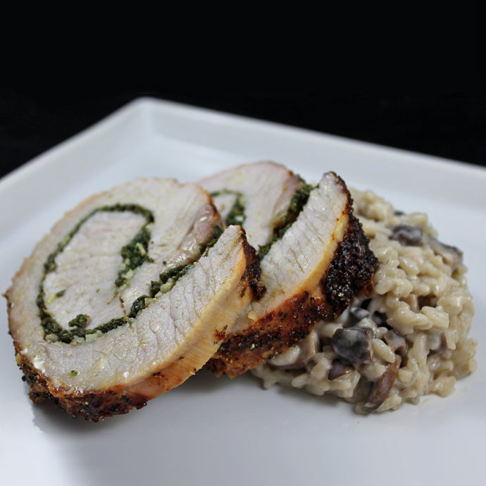 Porchetta with Mushroom Risotto