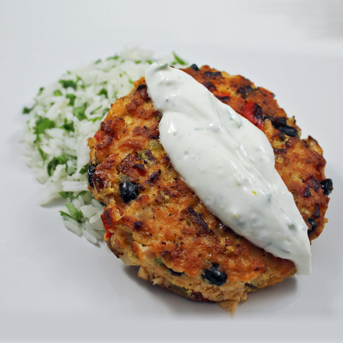 Salmon Cakes with Cilantro Lime Rice