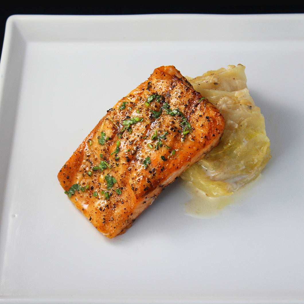 Grilled Salmon with Braised Cabbage