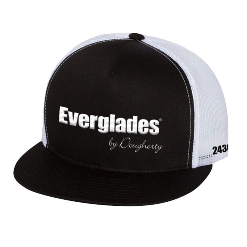 Black Flat Brim & White Mesh Snap Back - 243CC