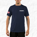 Men's Performance Short Sleeve - Signature Navy Blue with American Flag