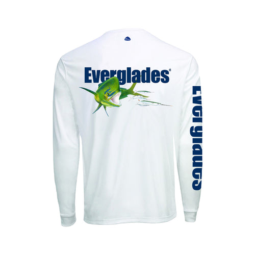 White Men's Performance Long Sleeve - Bull Dolphin