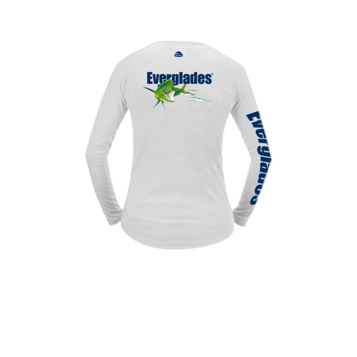 White  Ladies Performance Long Sleeve - Bull Dolphin