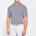 Everglades Navy Striped Peter Millar Polo
