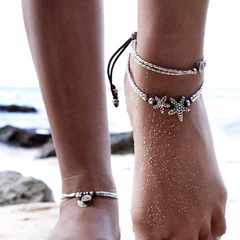 Bohemian Style Starfish or Rune Double Layers Beaded Anklet - Salty 9